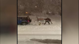 RAW: Snowball fight leads to woman