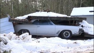 PHOTOS: Classic car and other vehicles crushed after carport collapses in Shelton