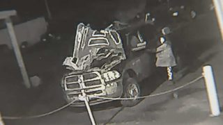 Video shows woman break into dealership, crash truck she tries to steal