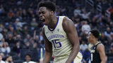 Washington's Noah Dickerson celebrates after a play against Colorado during the second half of an NCAA college basketball game in the semifinals of the Pac-12 men's tournament Friday, March 15, 2019, in Las Vegas. (AP Photo/John Locher)