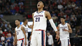 Gonzaga forward Rui Hachimura (21) celebrates after Gonzaga scored against Fairleigh Dickinson during the first half of a first-round game in the NCAA men's college basketball tournament March 21, 2019, in Salt Lake City. (AP Photo/Rick Bowmer)