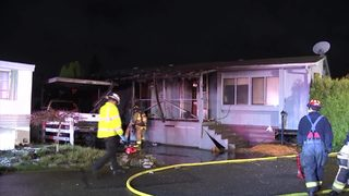 RAW VIDEO: Mobile home destroyed by fire near Lynnwood