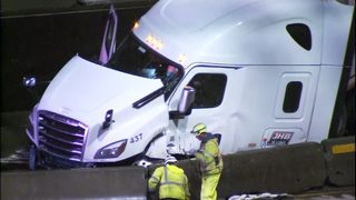 PHOTOS: Semi hits barrier in Tacoma, closing I-5