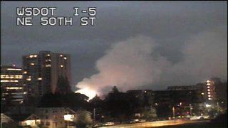 U-District fire sends smoke plume over city