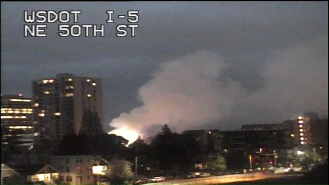 U-District fire sends smoke plume over city