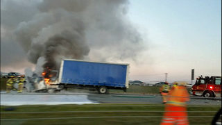 RAW: Box truck burns after multi-car crash in Conway