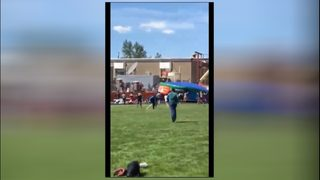 RAW: Students hurt when bounce house tossed by wind