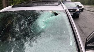 Falling rock crashes through windshield, nearly hits driver in head