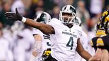 Malik McDowell #4 of the Michigan State Spartans reacts during the game against the Iowa Hawkeyes in the Big Ten Championship at Lucas Oil Stadium on December 5, 2015 in Indianapolis, Indiana. (Photo by Joe Robbins/Getty Images)