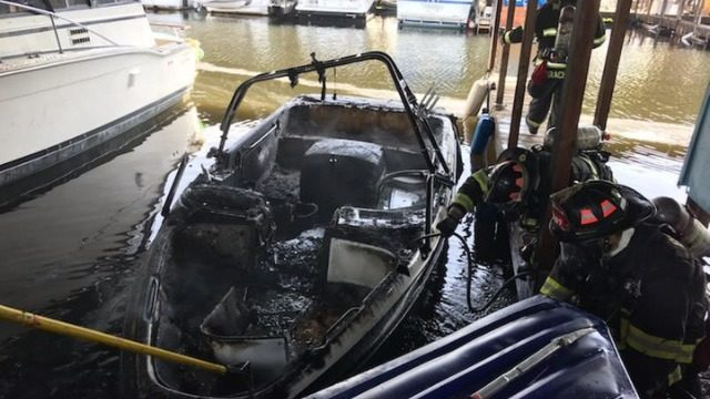 Fire damages boat at local marina