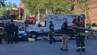Ambulance carrying critical patient T-bones car