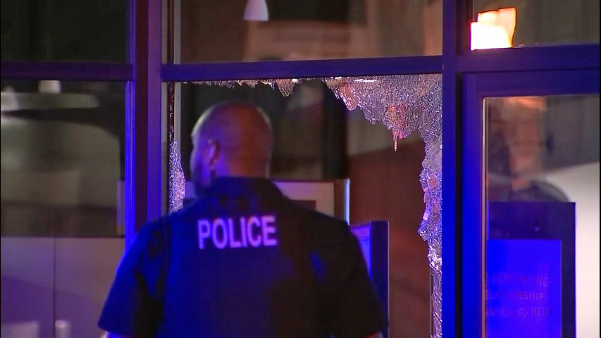 Vandal shatters windows at West Seattle bank | KIRO-TV