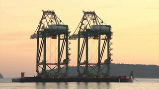 WATCH: Colossal new cranes make journey to Everett