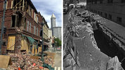 Seattle earthquake damage in 2001 and 1965.