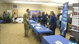 Photo of a job fair held at Joint Base Lewis-McChord in October 2018.