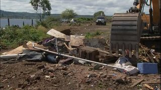 Excavators demolish homeless housing at Aberdeen River Camp