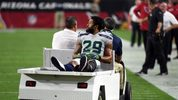 Defensive back Earl Thomas #29 of the Seattle Seahawks leaves the field on a cart after being injured during the fourth quarter against the Arizona Cardinals at State Farm Stadium on September 30, 2018. (Photo by Norm Hall/Getty Images)