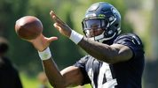 In this photo taken July 25, 2019, Seattle Seahawks wide receiver DK Metcalf makes a catch during NFL football training camp in Renton, Wash. (AP Photo/Ted S. Warren)