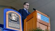 Edgar Martinez gives his speech during the Baseball Hall of Fame induction ceremony at Clark Sports Center on July 21, 2019 in Cooperstown, New York. (Photo by Jim McIsaac/Getty Images)
