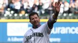 Former Seattle Mariner and Hall of Famer Edgar Martinez waves to the crowd after throwing out the ceremonial first at T-Mobile Park on March 28, 2019 in Seattle, Washington(Photo by Abbie Parr/Getty Images)