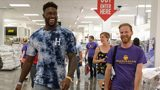 Seattle Seahawks wide receiver DK Metcalf, left, helps a Seattle Public Schools teacher shop during the JCPenney 2019 Back-to-School Teacher Giving Spree, Wednesday, Aug. 14, 2019 in Tukwila, Wash. (Stephen Brashear/AP Images for JC Penney)