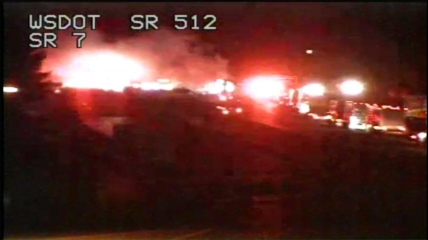 Semitruck crashed into guardrail, causing brush fire along
