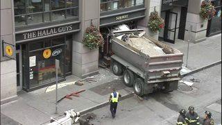 Dump truck crashes into Subway sandwich shop in Pioneer