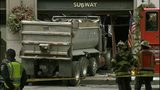 VIDEO: Dump truck slams into restaurant