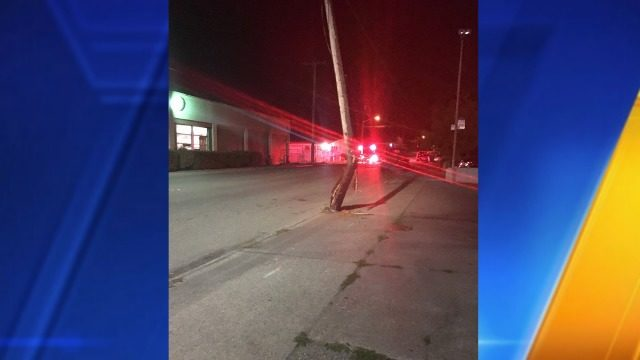 Car strikes utility pole in Bremerton | KIRO-TV