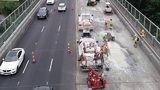 Picture from WSDOT shows contractor crews doing concrete repairs on the SR 99 Aurora bridge.