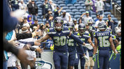 SEATTLE, WA - SEPTEMBER 22: Defensive back Bradley McDougald #30 of the Seattle Seahawks runs ont to the field with teammates before a game against the New Orleans Saintsat CenturyLInk Field on September 22, 2019 in Seattle, Washington. (Photo by Stephen Brashear/Getty Images)