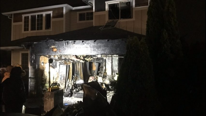 Dog dies after fire spreads from garage into Marysville home