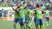 SEATTLE, WASHINGTON - NOVEMBER 10: Kelvin Leerdam #18 of the Seattle Sounders celebrates with teammates after scoring a goal to take a 1-0 lead during the 2019 MLS Cup at CenturyLink Field on Nov. 10, 2019 in Seattle, Washington.