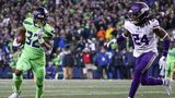 Chris Carson #32 of the Seattle Seahawks runs the ball past Holton Hill #24 of the Minnesota Vikings in the fourth quarter at CenturyLink Field on December 10, 2018 in Seattle, Washington. (Photo by Abbie Parr/Getty Images)